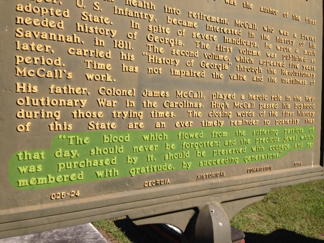 Highlighting Hugh McCall's quote on his marker on Veterans Day blog post