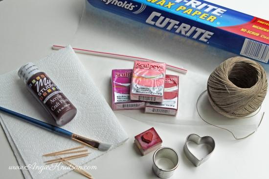 valentine clay necklace supplies